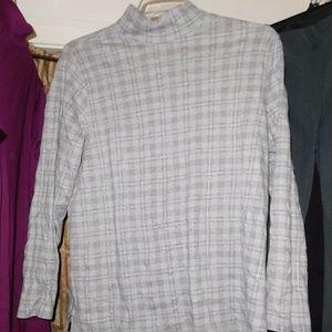 COVINGTON GRAY PLAID mock neck top long sleeve 16W